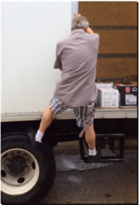 Climbing out of trailer
